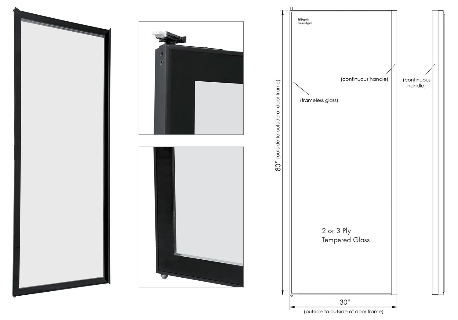 Rw international frameless display glass door for Frameless glass doors